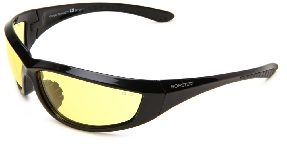 Bobster Charger Sunglasses (Black Frame, Anti-fog Yellow Lens, ANSI Z87)