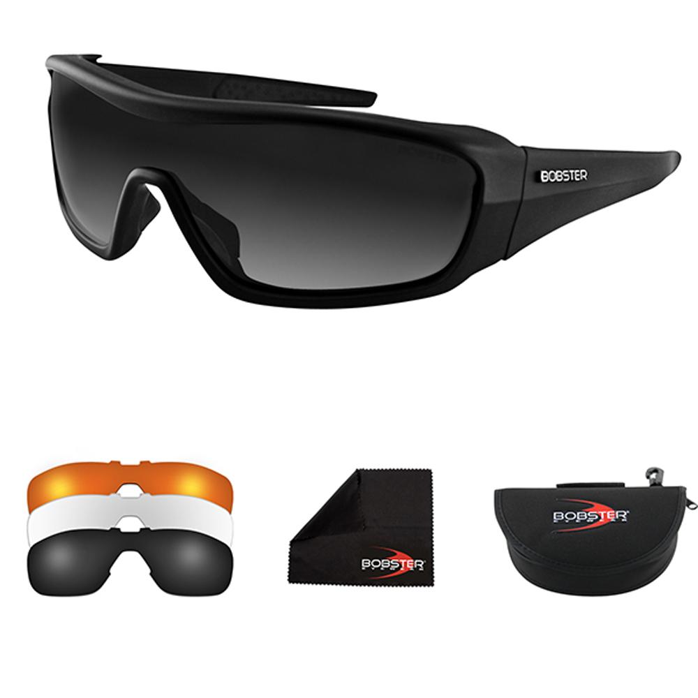 Bobster Enforcer Interchangeable Sunglasses (Matte Black, 3 Lenses)