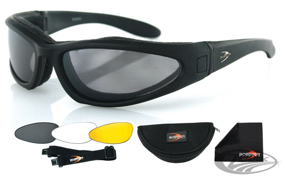 Bobster Low Rider II Convertible Sunglasses (Black Frame, 3 Sets of Lenses)