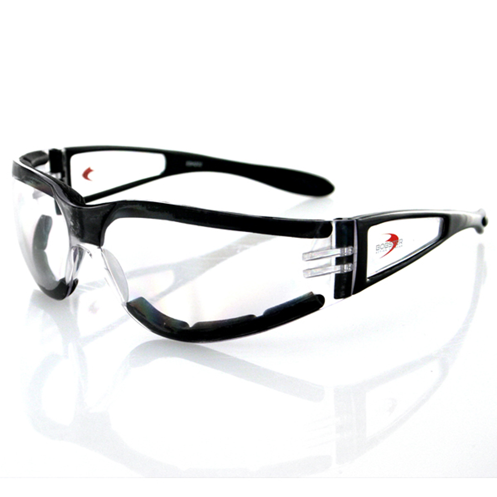 Bobster Shield II Sunglasses (Black Frame, Clear Lens)