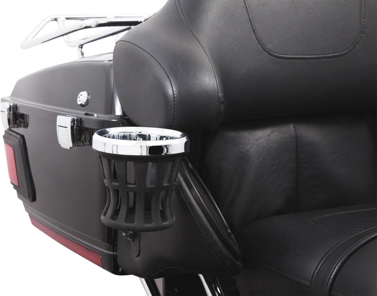 CIRO Passenger Mount Drink Holder for 96-13 Harley-Davidson FLHT (Chrome/Black)