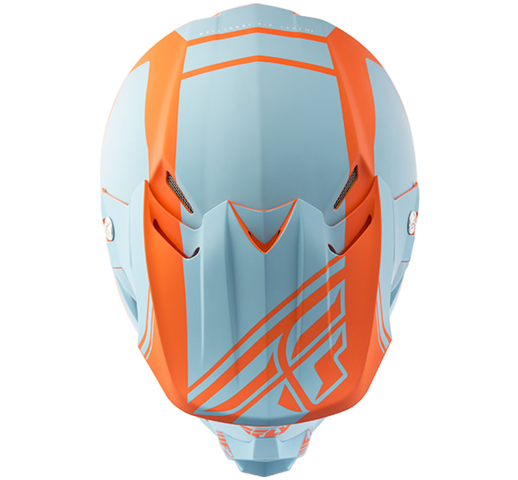 Matte Light Blue//Orange Fly Racing MX Motocross 2018 F2 CARBON Rewire Helmet
