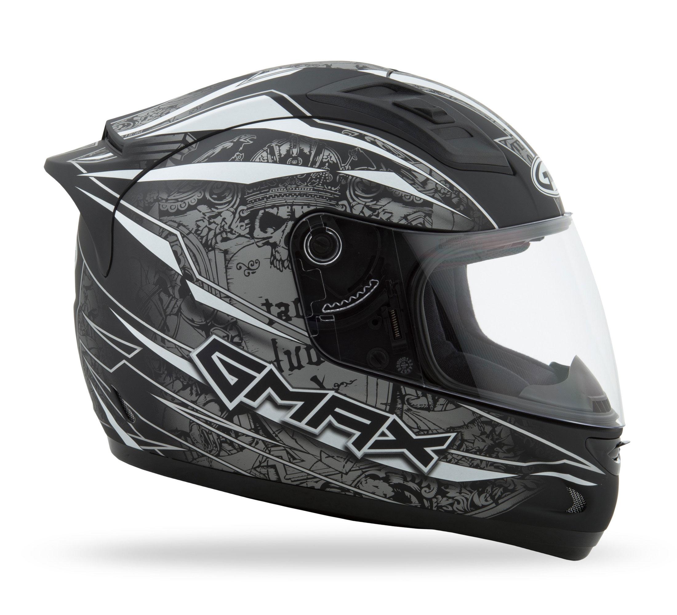 Helmets GMAX GM69 FULL FACE MAYHEM HELMET MATTE BLACK/SILVER/WHITE L