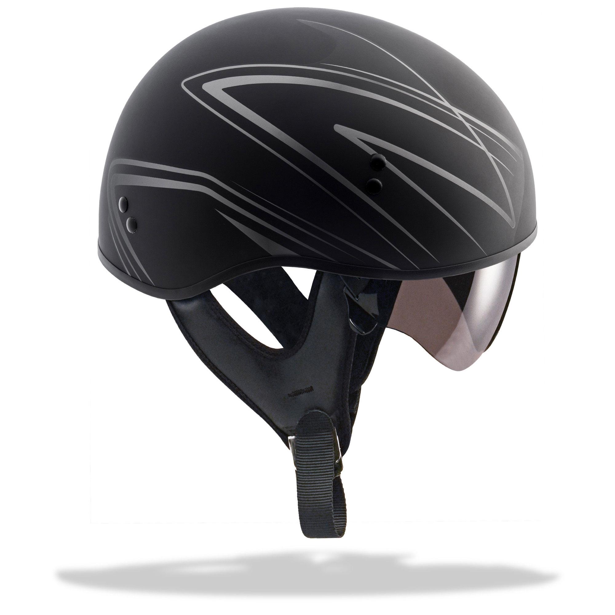 GMAX GM65 TORQUE Naked Motorcycle Half Helmet (Flat Black/Silver)