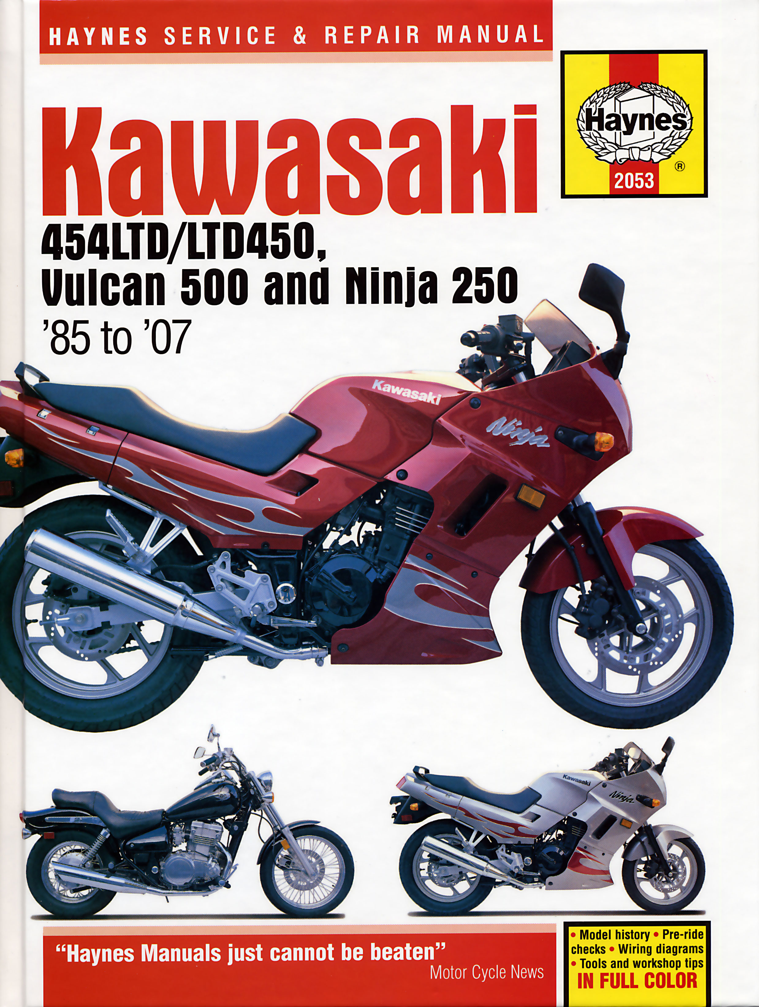 HAYNES Repair Manual - Kawasaki EN500/Vulcan 500 (1990-07) Ninja EX250 on