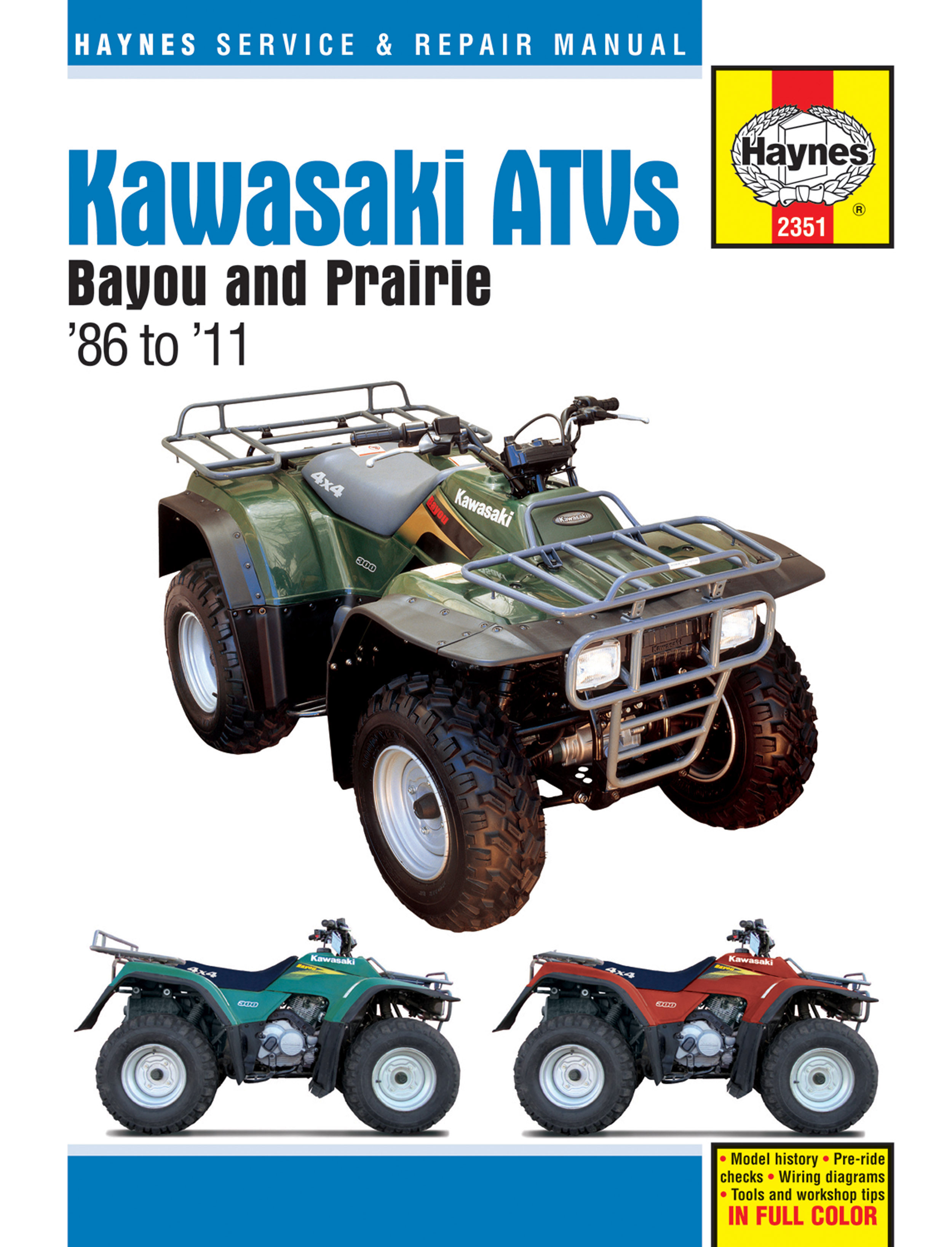 HAYNES Repair Manual - Kawasaki Bayou 220cc/250cc/300cc, Prairie 300cc on