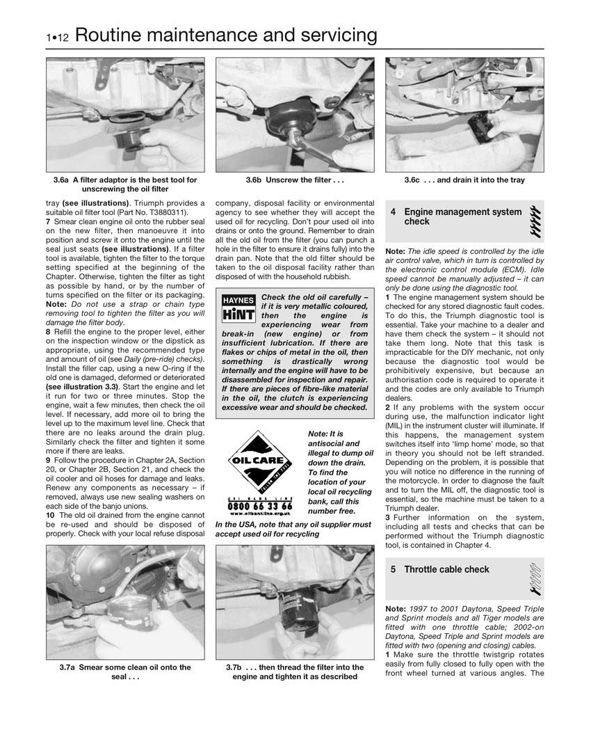 Haynes Repair Manual Triumph Daytona Speed Triple Sprint Tiger