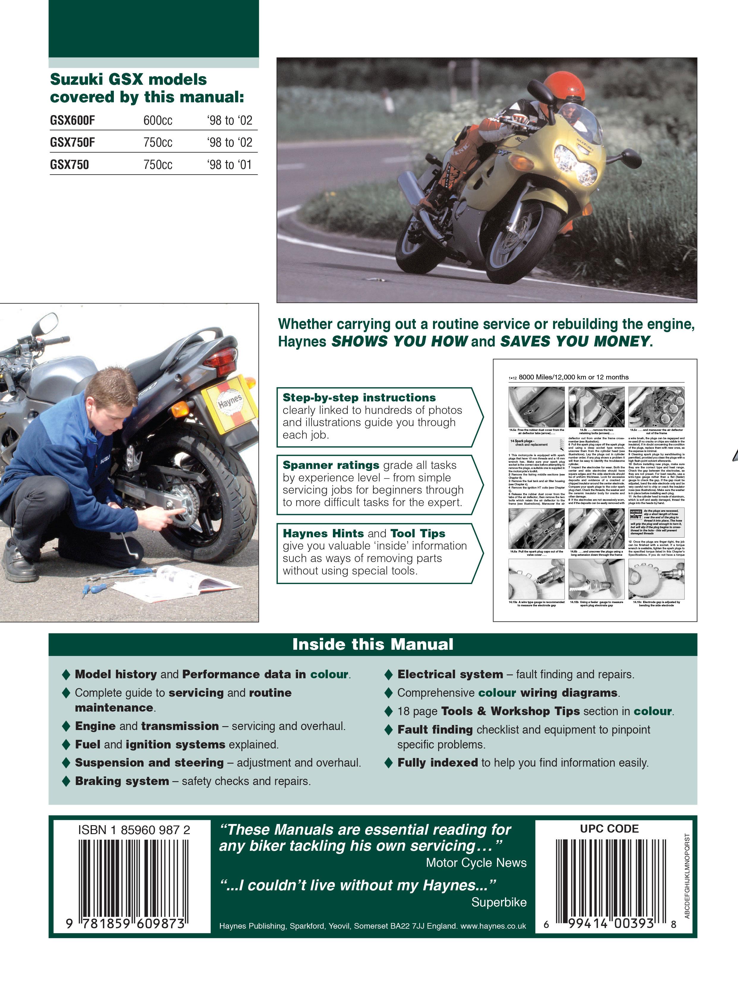 HAYNES Repair Manual - Suzuki GSX600F, GSX750F and GSX750 (1998-2002)