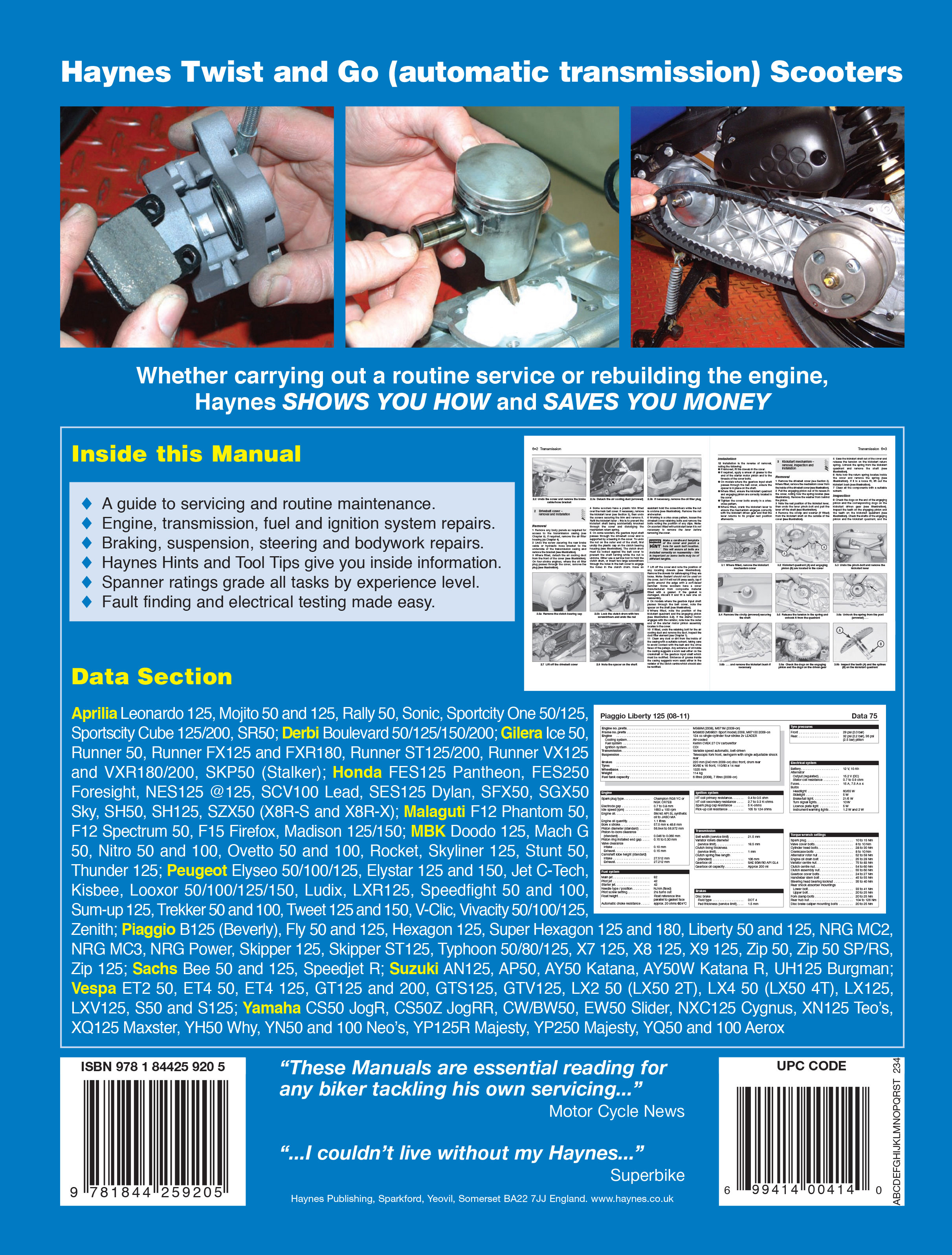 haynes repair manual twist and go automatic transmission rh motorcycleworks com Piaggio Typhoon 125 Accessories Typhoon 125