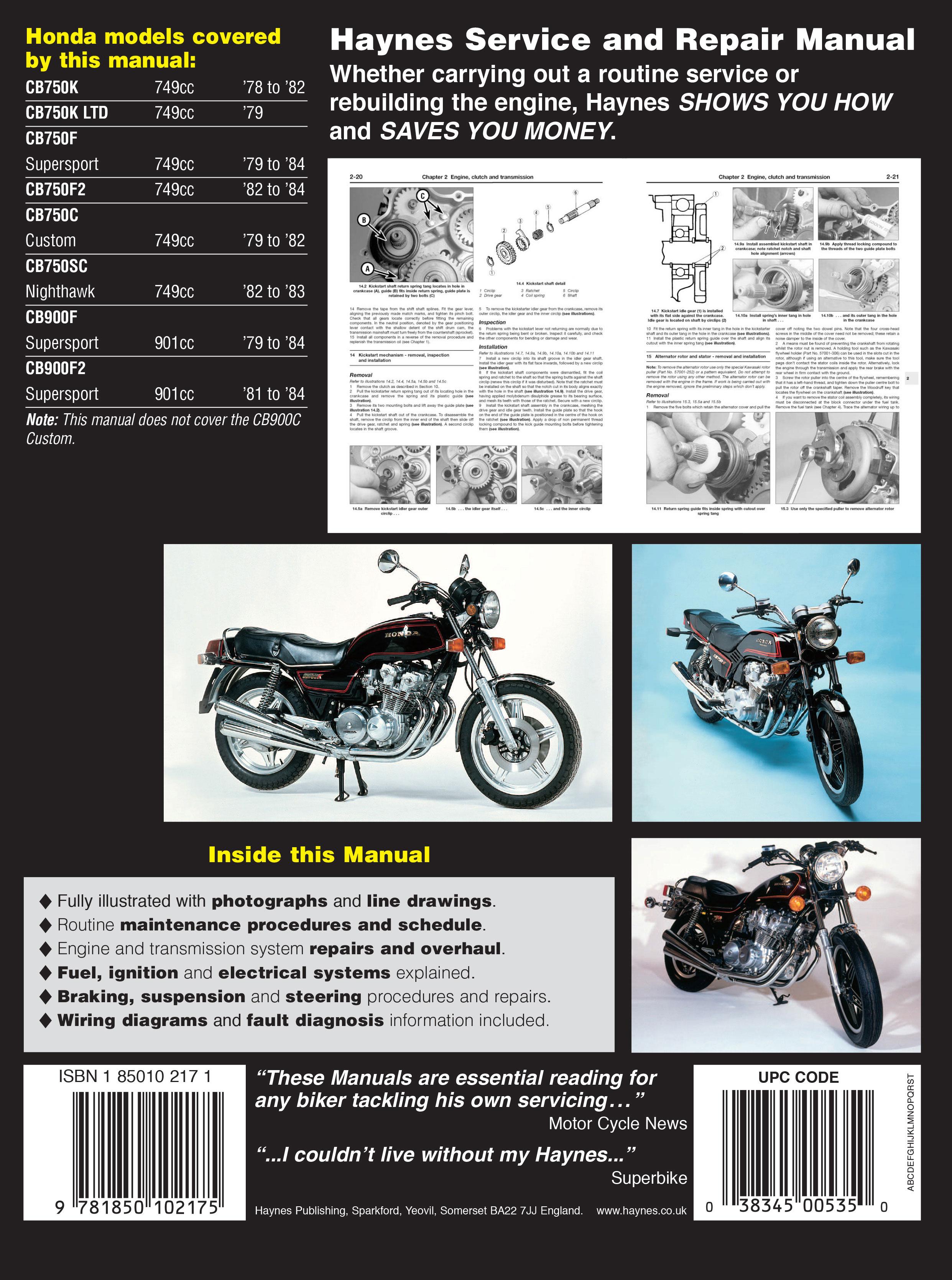 haynes repair manual honda cb750 and cb900 dohc fours 1978 1984 rh motorcycleworks com