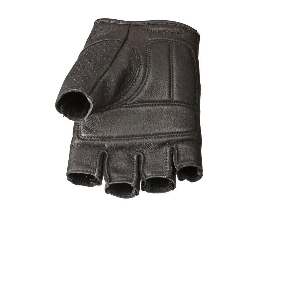 Highway 21 Jab Mens Motorcycle Half Glove Goat Skin Perforated Leather Memory Foam Palm Black Large