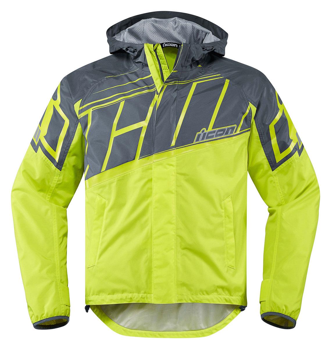 Icon pdx 2 waterproof nylon motorcycle rain jacket hi viz for Motor cycle rain gear