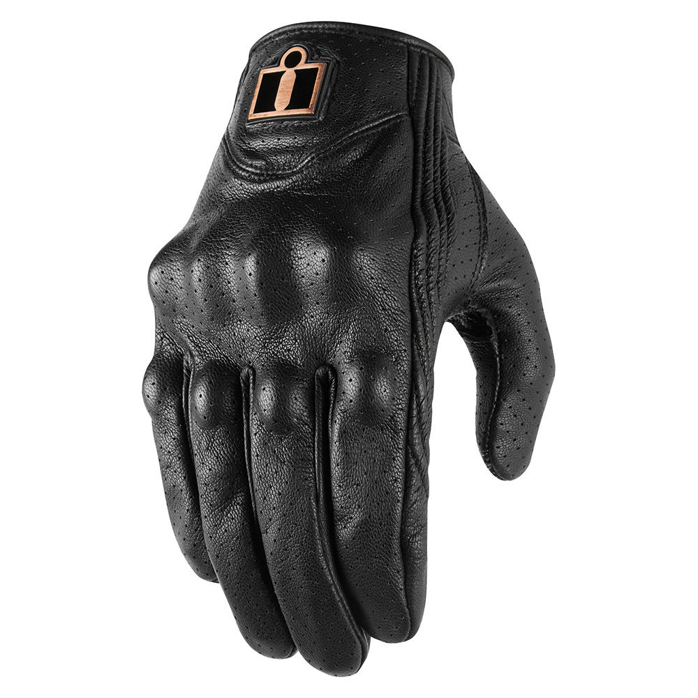 Icon Pursuit Classic Perforated Leather Gloves (Black)