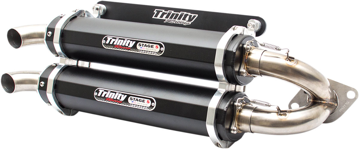 Trinity Racing STAGE 5 Dual Slip-On Exhaust Mufflers (Black) Polaris RZR XP  1000 (2014-2016) TR-4118S-BK