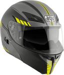 AGV Numo EVO ST Modular Flip-Up Motorcycle Helmet w/ Sun Visor (Portland Matte Black/Silver Flo Yellow)