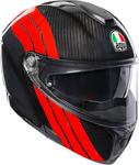 AGV Sport Modular Carbon STRIPES Flip-Up Helmet w/ Sun Visor (Black/Red)