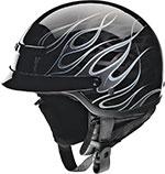 Z1R Nomad HELLFIRE Motorcycle Half Helmet (Black/Silver)