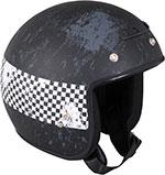 Z1R Jimmy DISTRESSED CHECKER Open Face Motorcycle Helmet (Black)