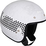 Z1R Jimmy DISTRESSED CHECKER Open Face Motorcycle Helmet (White)