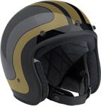BILTWELL BONANZA Retro Open-Face Helmet (Fury Black/Grey/Gold)