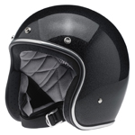 BILTWELL INC BONANZA Retro Open-Face Motorcycle Helmet (Midnight Black Miniflake)