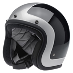 BILTWELL INC BONANZA Retro Open-Face Motorcycle Helmet (Tracker Black/Silver)