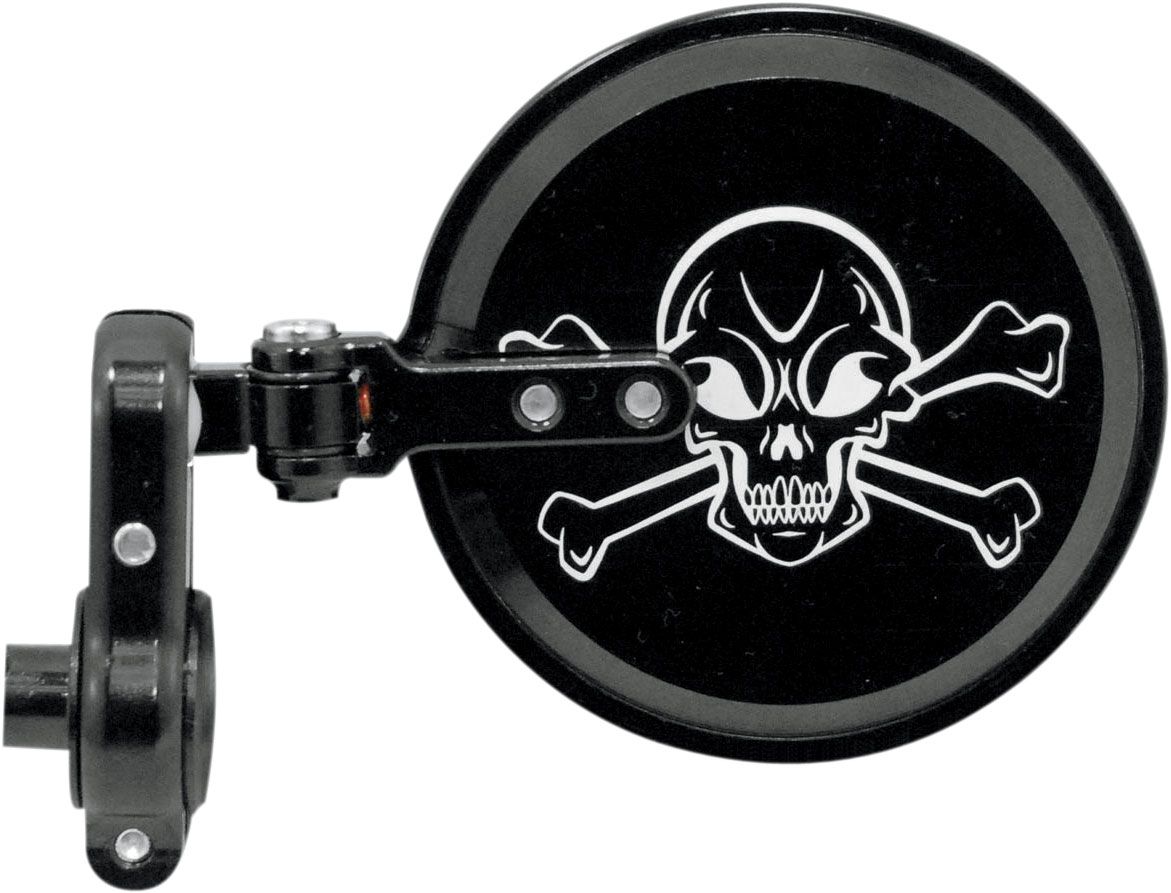 PSR Skull Folding Bar End Mirror (Black) Left | 00-00205-22