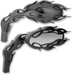 Arlen Ness - 13-087 - Die-Cast Flamed Mirror, Left - Black