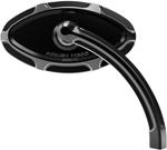 Arlen Ness - 13-132 - Beveled Cats Eye Short Stem Billet Mirror, Right - Black