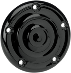 BILTWELL Ripple Ignition/Points Cover (Black) For 5-hole Twin Cam H-D models