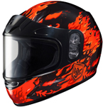 HJC Kids CL-Y Flame Face Full-Face Snow Snowmobile Helmet (Red)