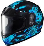 HJC Kids CL-Y Flame Face Full-Face Snow Snowmobile Helmet (Blue)