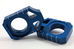 Works Connection Aluminum Axle Blocks Kawasaki/Suzuki (Blue) 17-021