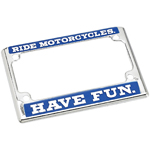 BILTWELL INC Die-Cast Zinc License Plate Frame - Ride Motorcycles (Chrome/Blue/White)