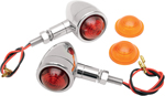 Drag Specialties Custom Stud-Mount Bullet Marker Lights (Chrome w/Amber/Red Lens) Sold as a pair