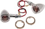 Drag Specialties Mini Deuce Stud-Mount Marker Lights (Chrome/Amber Bulb) Clear & Smoke Lens