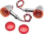 Drag Specialties Mini Deuce Stud-Mount Marker Lights (Chrome/White Bulb) Amber & Red Lens