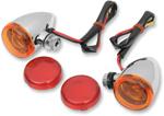Drag Specialties Mini Deuce Bolt-Mount Marker Lights (Chrome/White Bulb) Amber & Red Lens