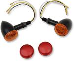 Drag Specialties LED Mini Deuce Marker Light Kit (Gloss Black/White LED) Amber & Red Lens
