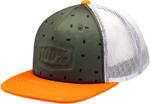 100% MX Motocross STAMPED Foam Trucker Flatbill Snapback Hat/Cap (Orange/Green) One Size