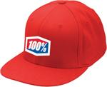 100% MX Motocross ESSENTIAL Flatbill Flex J Fit Fitted Hat/Cap (Red)