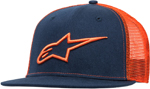 Alpinestars CORP Mesh Curved Bill Snap-Back Hat/Cap (Navy/Orange)