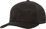 Alpinestars AGELESS Mock Mesh Curved Bill Flex-Back Hat/Cap (Black/Black)