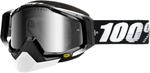 100% Snow Snowmobile RACECRAFT Goggles (Black w/ Anti-Fog Dual Pane Mirror Silver Lens)