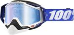 100% Snow Snowmobile RACECRAFT Goggles (Blue w/ Anti-Fog Dual Pane Mirror Blue Lens)
