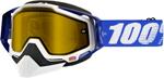 100% Snow Snowmobile RACECRAFT Goggles (Blue w/ Anti-Fog Dual Pane Yellow Lens)