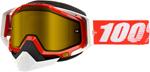 100% Snow Snowmobile RACECRAFT Goggles (Red w/ Anti-Fog Dual Pane Yellow Lens)