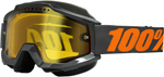 100% Snow Snowmobile ACCURI Goggles (Gray w/ Anti-Fog Dual Pane Yellow Lens)