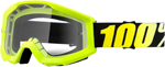 100% MX Motocross STRATA Goggles (NEON YELLOW w/ Anti-Fog Clear Lens)