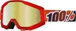 100% MX Motocross STRATA Goggles (FIRE RED w/ Anti-Fog Mirror Red Lens)